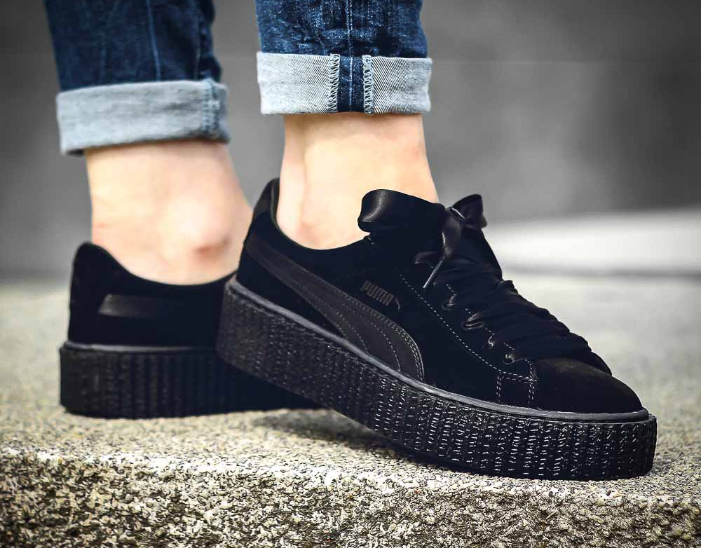 Fenty by Rihanna x Puma Suede Creeper Satin Triple Black (noire) (4) 04ff2c02f
