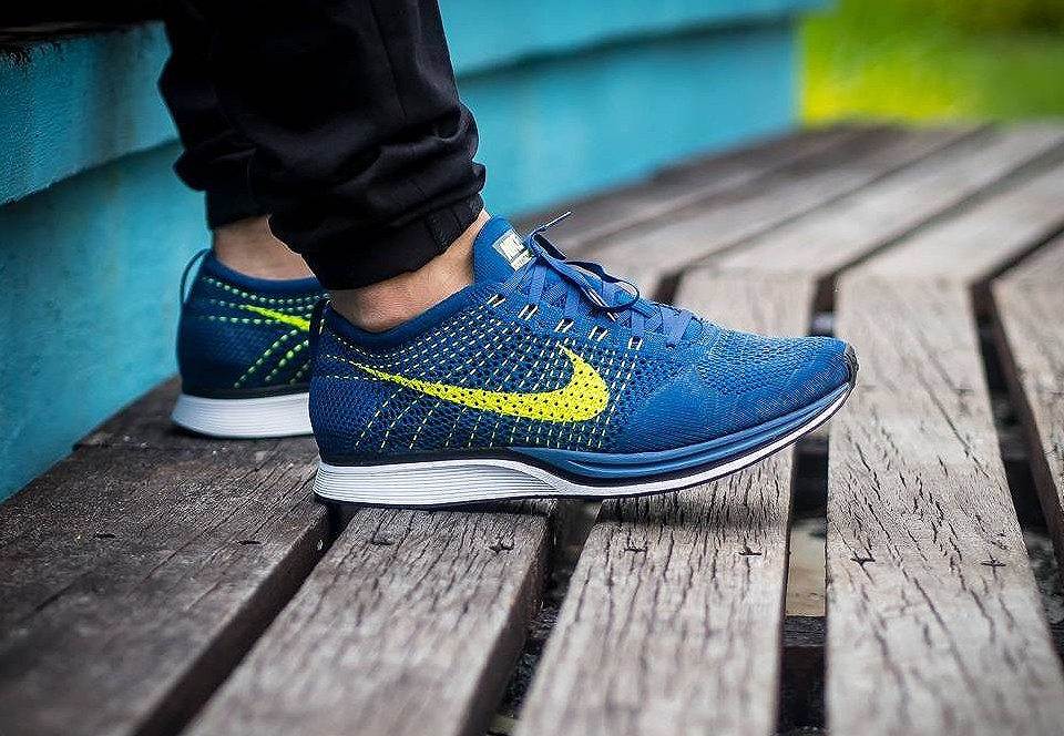 the latest dd9e5 55d6e Nike Flyknit Racer Brave Blue -  doggytwoshoes