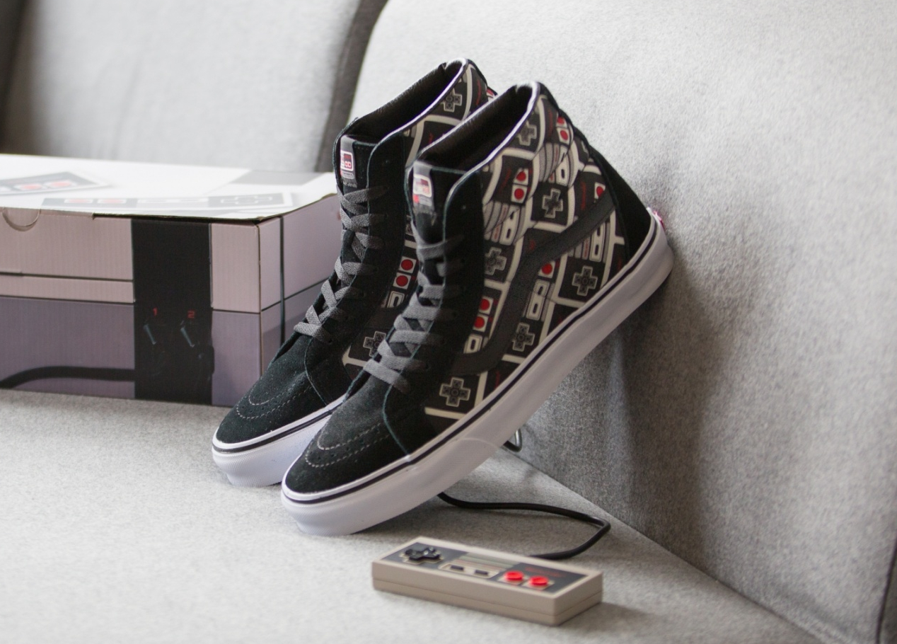 Chaussure Nintendo x Vans SK8 Hi Reissue manette Nes 8 Bits (1)