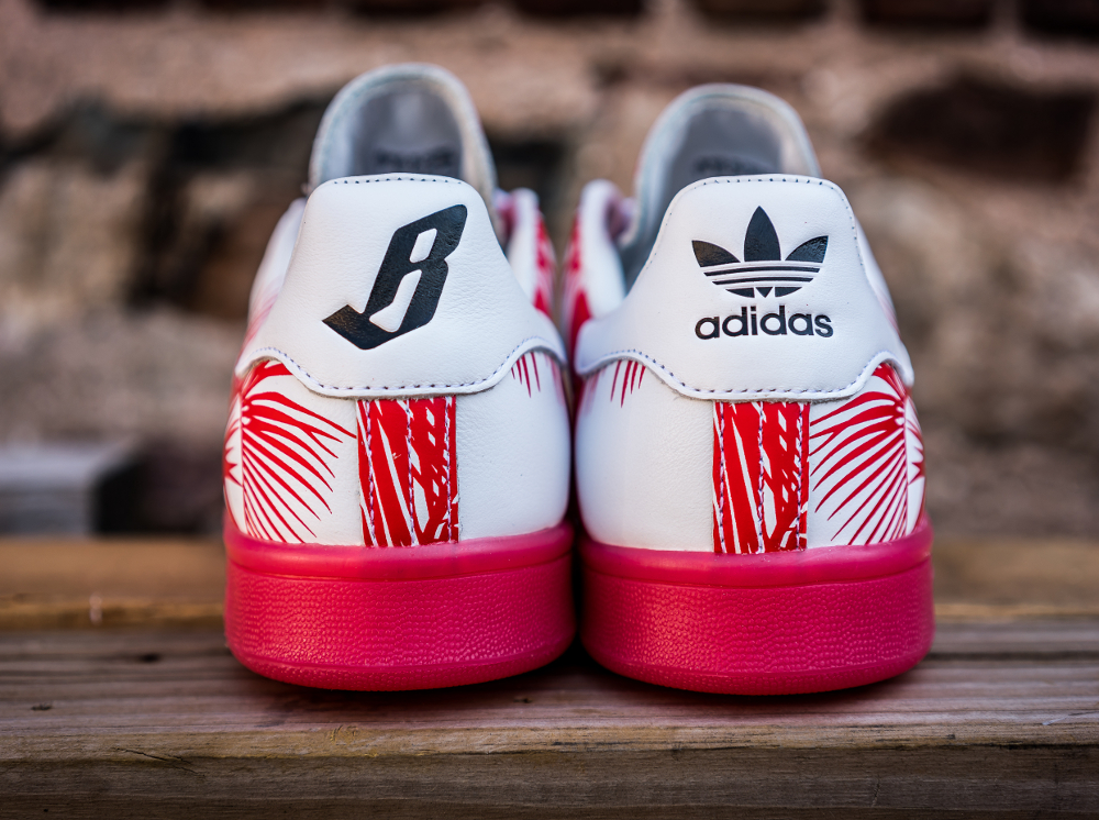 PH x BBC x Adidas Stan Smith Red (feuilles de palmier) (5)