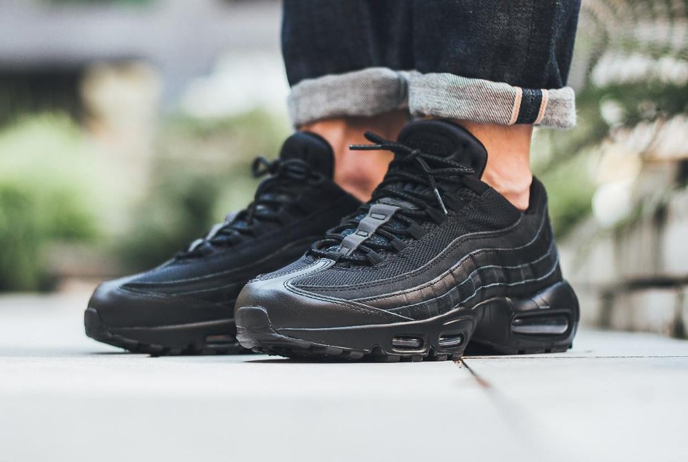 nike air max 95 baskets en cuir noir