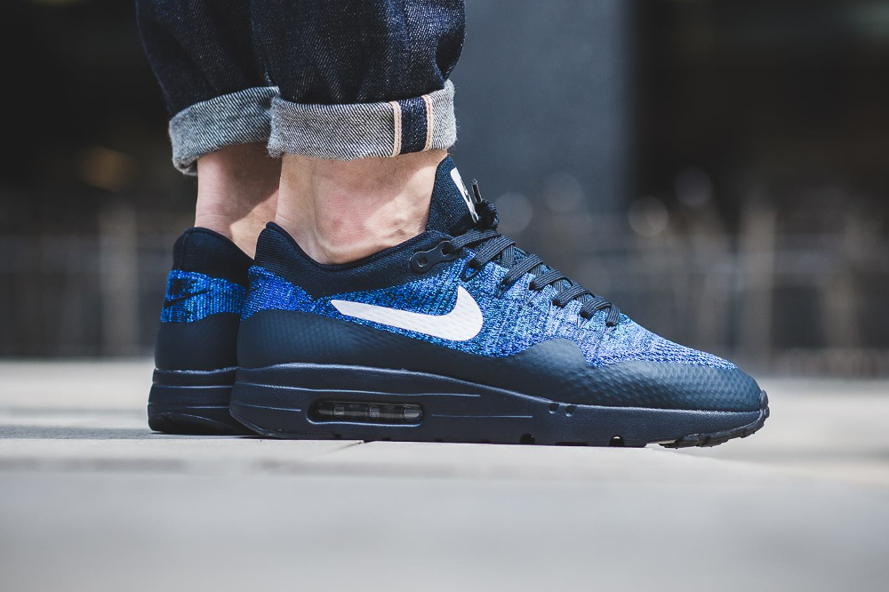 Nike Air Max 1 Ultra Flyknit (Dark Obsidian White Racer Blue)