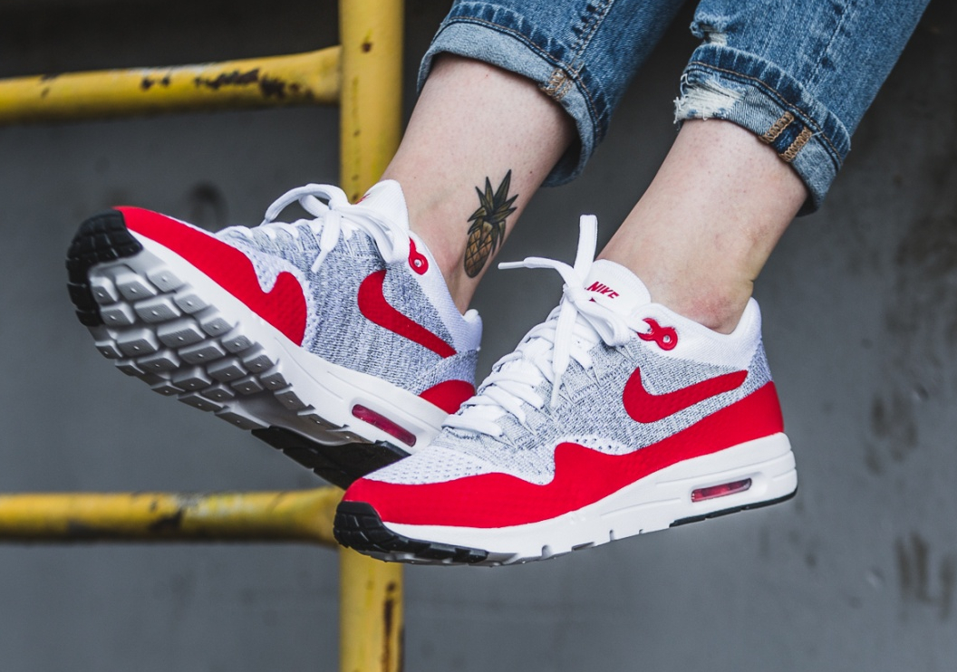 Nike Wmns Air Max 1 Ultra Flyknit OG White University (femme) (2)