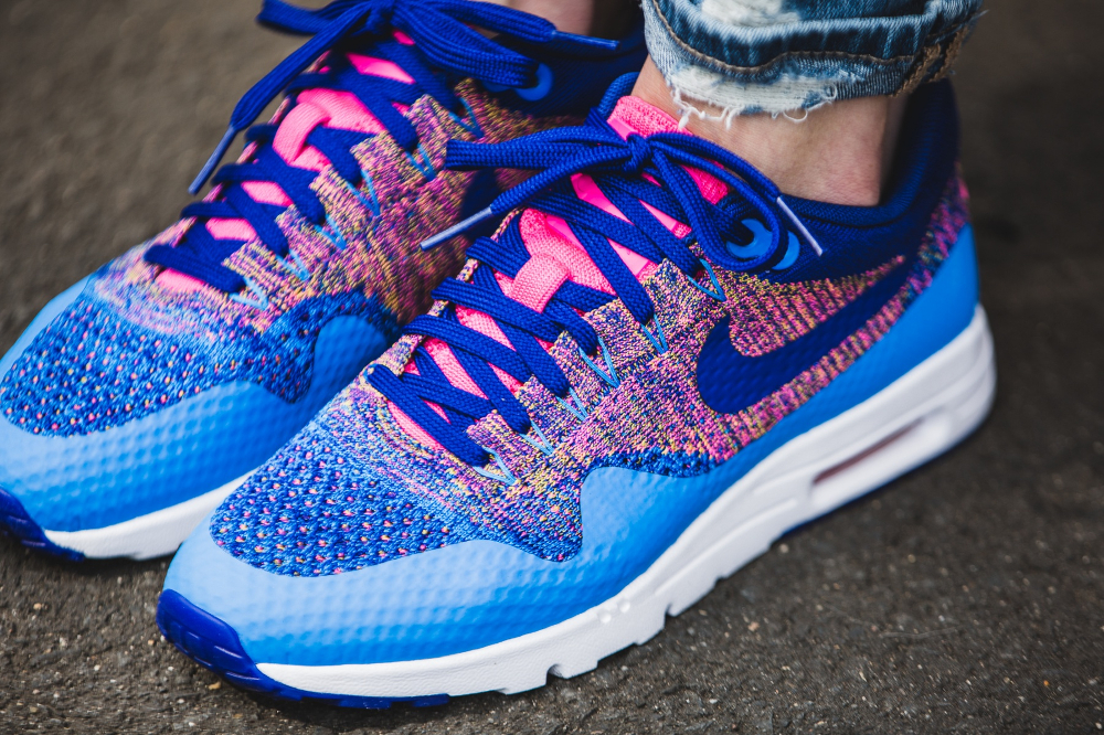 Nike Wmns Air Max 1 Ultra Flyknit (Photo Blue Deep Royal Blue Pink Blast) (femme) (3)