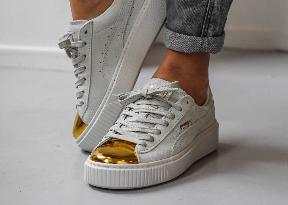 new product d3f32 2e317 Puma Suede Platform Creepers Gold Metal Toe (White & Black)