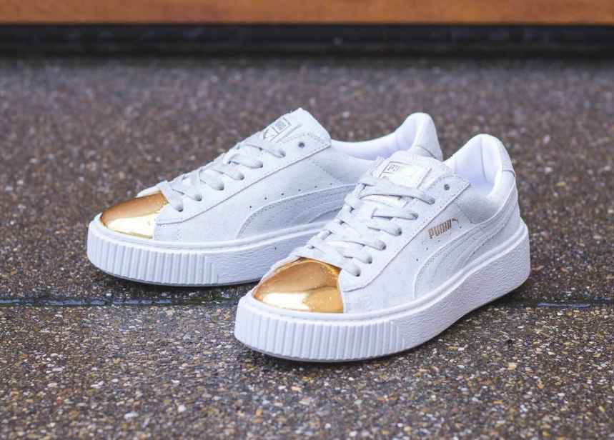 new product c8b0c 51027 Puma Suede Platform Creepers Gold Metal Toe (White & Black)
