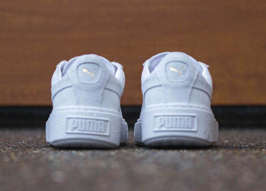 nouveau produit 5cd36 6cbdc Puma Suede Platform Creepers Gold Metal Toe (White & Black)