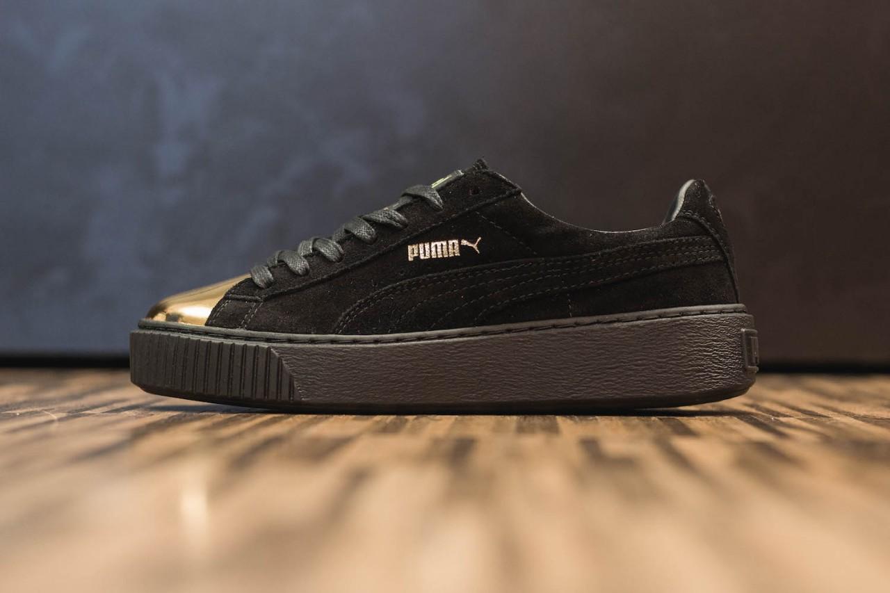 681ad3a7c45a Puma Suede Platform Creepers Gold Metal Toe (White & Black)