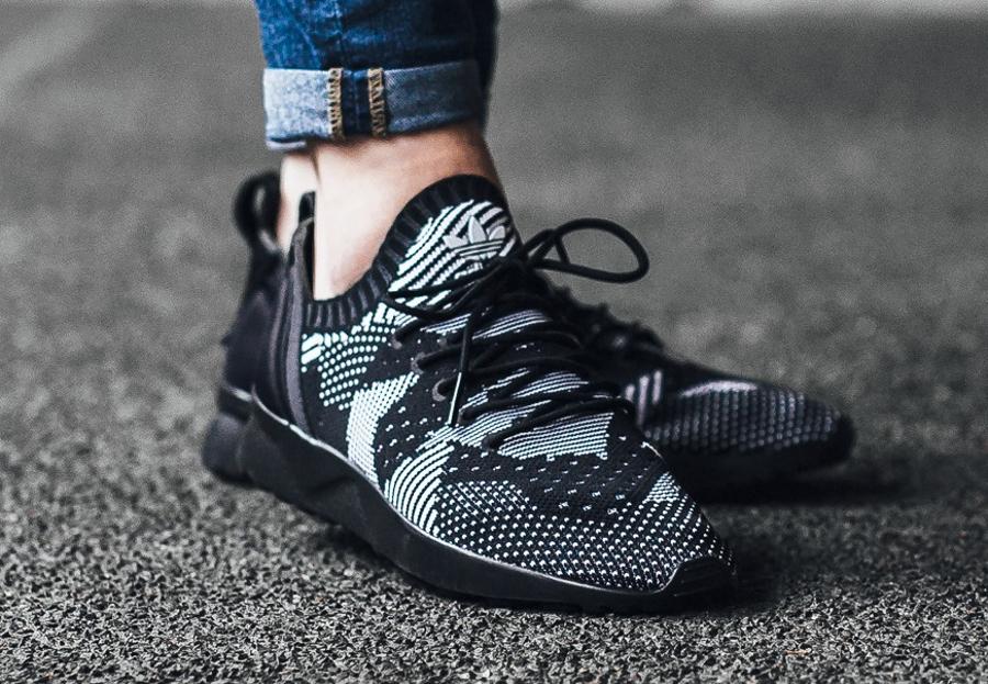 save off f00b0 29f8b acheter chaussure Adidas ZX Flux ADV Virtue Primeknit noire Black 3D Print ( femme) (