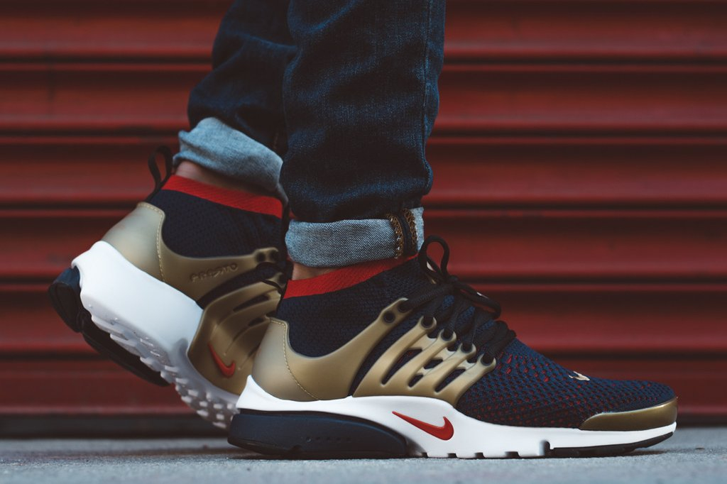 Nike Air Presto Ultra Flyknit Olympic Usa Navy Metallic Gold