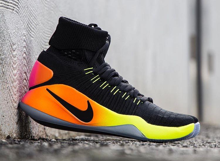 Chaussure Nike Hyperdunk 2016 Flyknit Black Volt Orange (2)