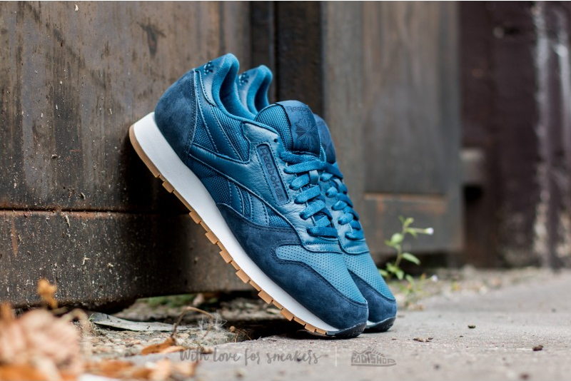 Reebok Classic Leather (Noble Blue Collegiate Navy White-Gum) (1)