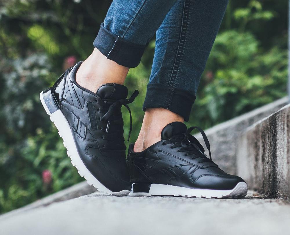a6c6f7e051ffb acheter chaussure Reebok Wmns Classic Leather Matte Shine Black noire (femme)  (2)