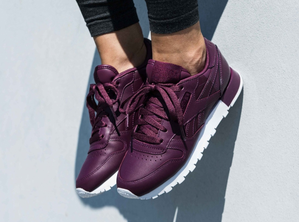 Reebok Wmns Classic Leather Matte Shine Maroon Bordeaux (femme) (2)