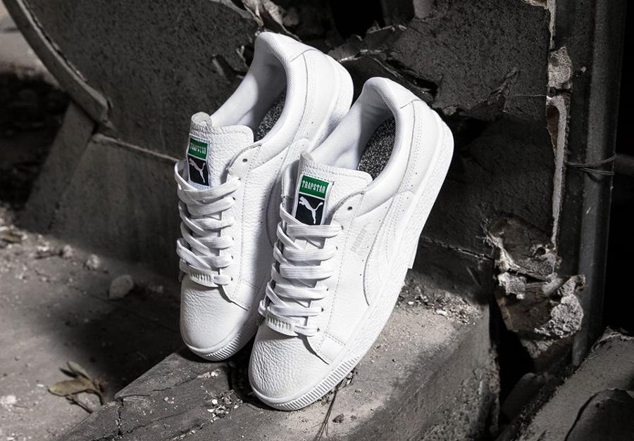 Trapstar x Puma Basket cuir blanc White Glacier Gray (1)