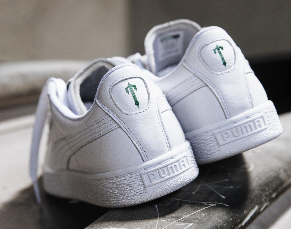 Trapstar x Puma Basket cuir blanc White Glacier Gray (2)