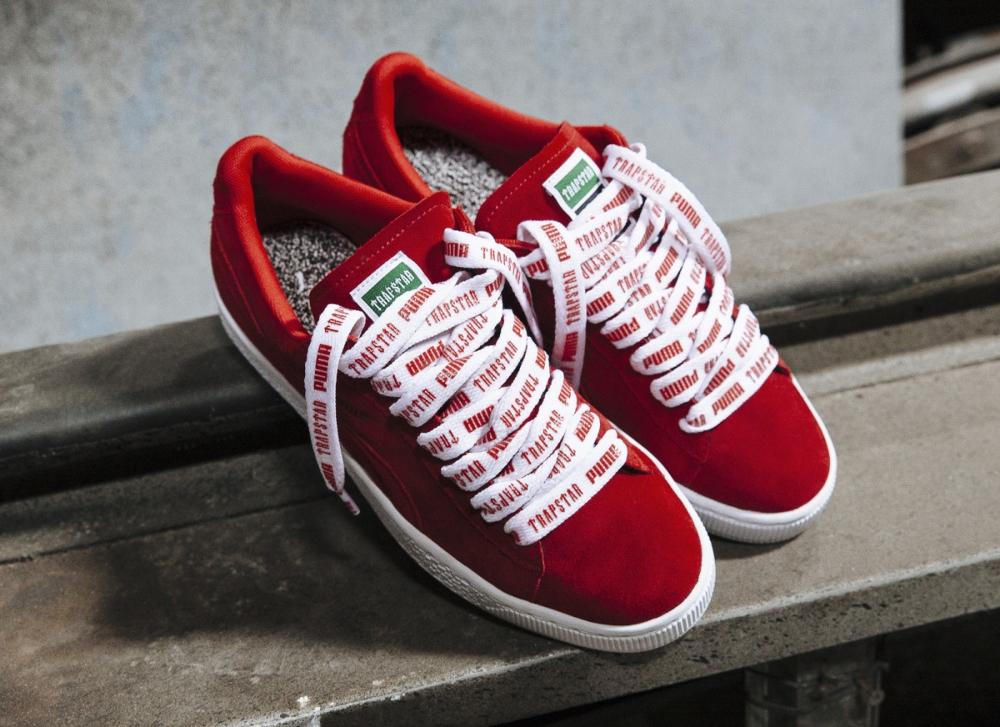 chaussure Trapstar x Puma Suede rouge Barbados Cherry Puma White