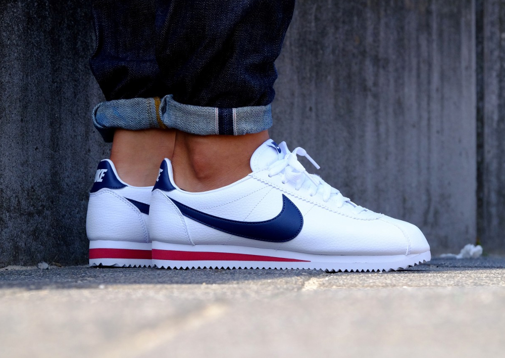 acheter basket Nike Cortez Leather USA White Midnight Navy (3)