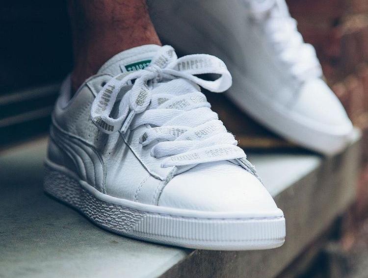 acheter chaussure Trapstar x Puma Basket cuir blanc White Glacier Gray