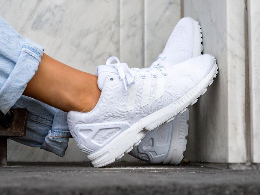 adidas zx blanche,chaussures adidas zx flux 3d tropical