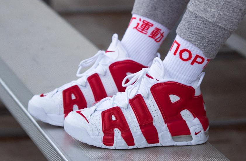 Nike Air More Uptempo White Red - @adrianneho