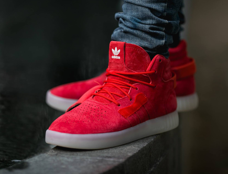 Adidas Tubular Invader Strap Suede 'Black, White & Red'