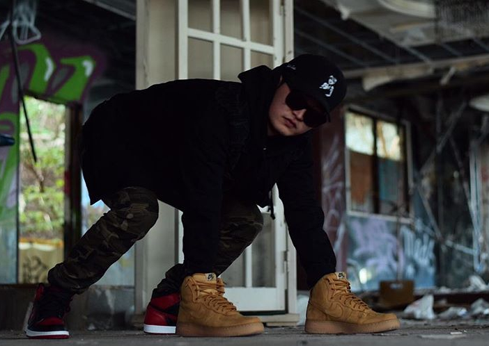 homme-chien-nike-air-force-1-high-flax