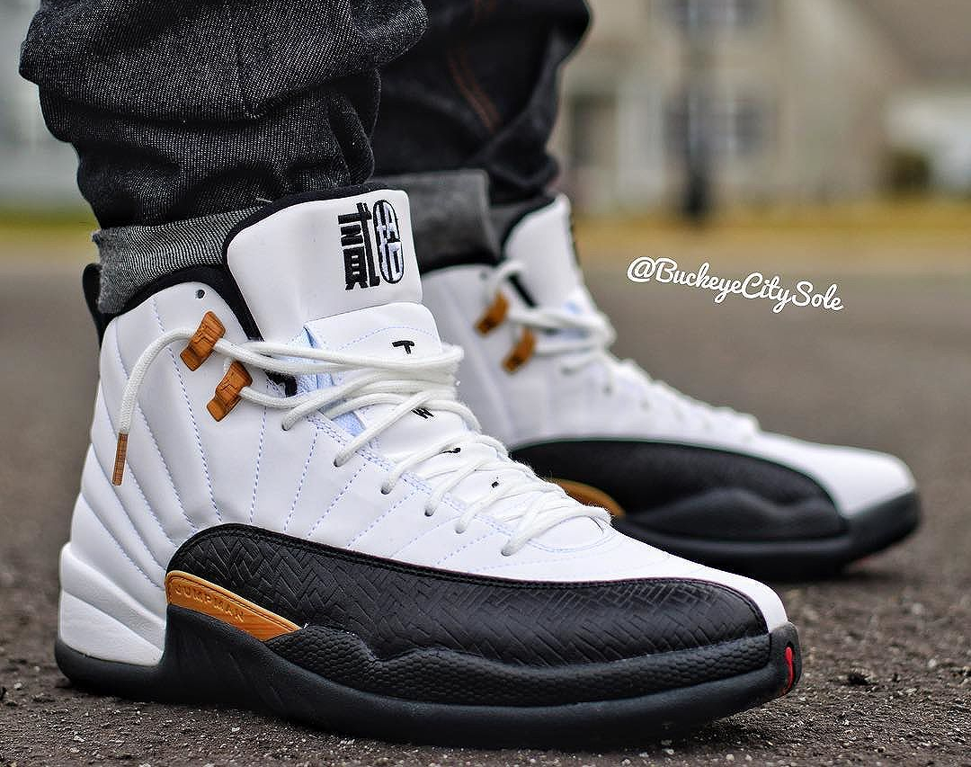 Chaussure Air Jordan 12 Retro Taxi CNY Chinese New Year on feet (5)
