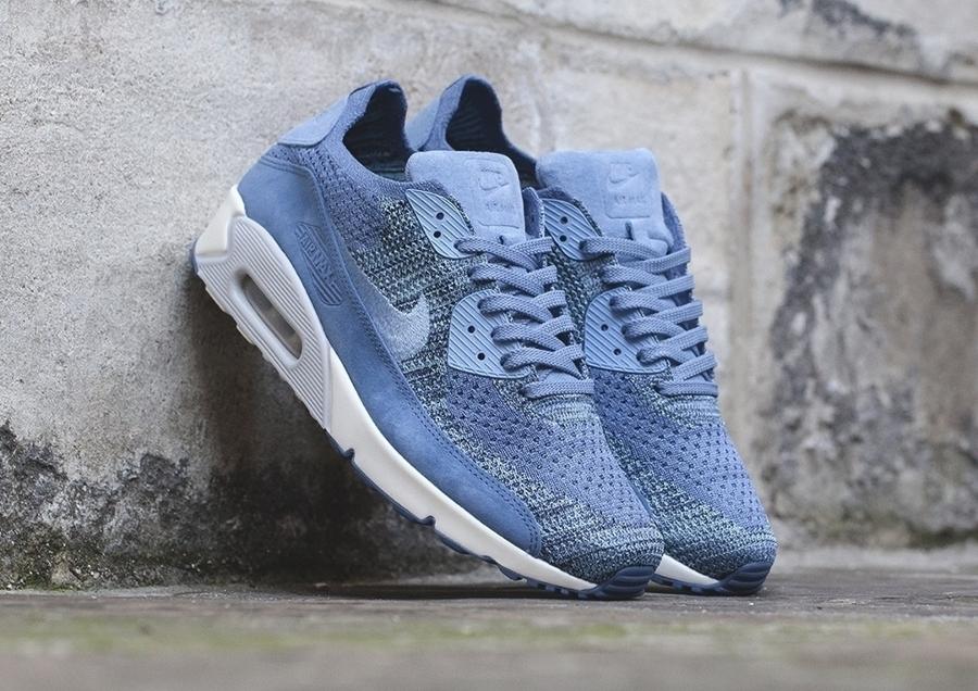 Chaussure NikeLab Air Max 90 Flyknit Premium 'Fog Blue' (homme) (1)