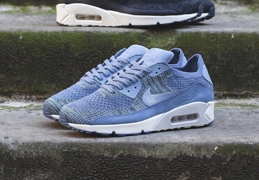 Chaussure NikeLab Air Max 90 Flyknit Premium 'Fog Blue' (homme) (2)