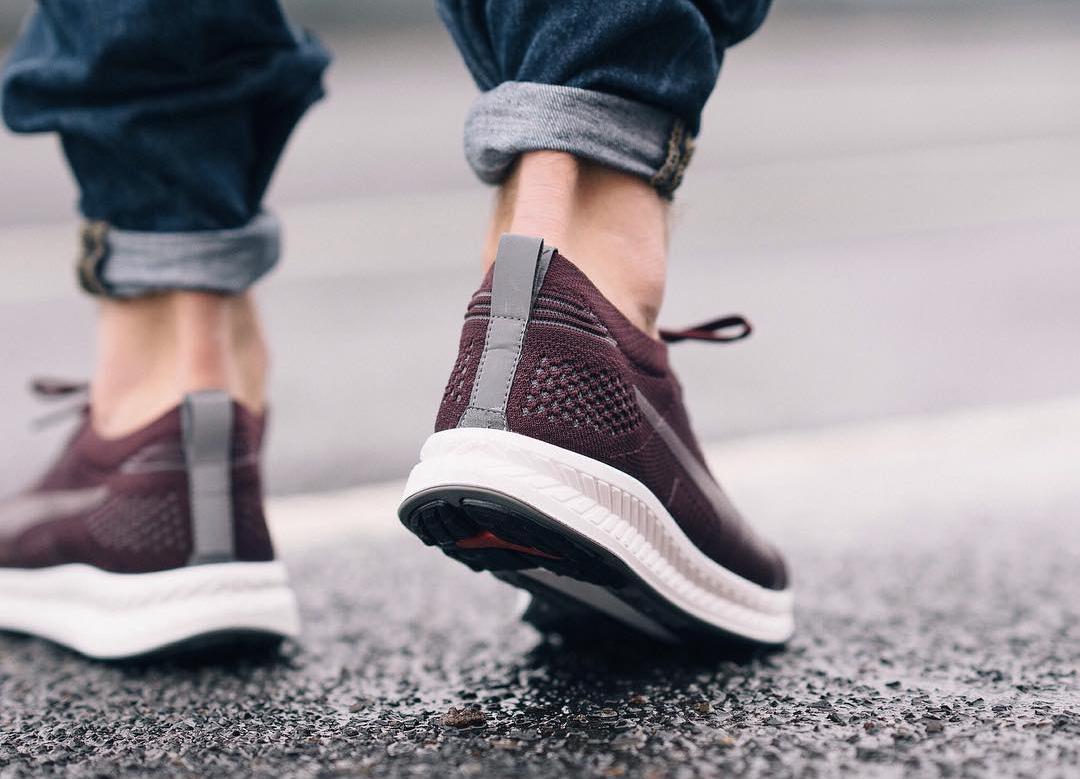 chaussure puma ignite evoknit 3d tricotee chaussette bordeaux