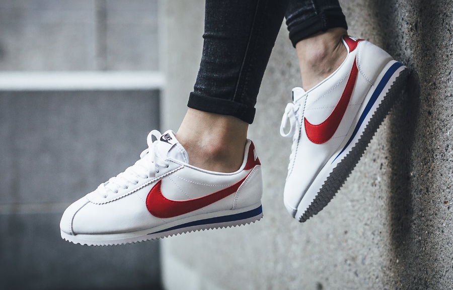 differently f6f27 b3fcf Nike Classic Cortez Leather Femme OG 'Forrest Gump' White Red