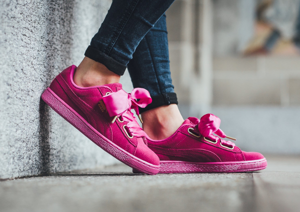 basket puma suede heart rose