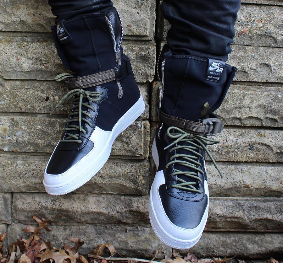 Chaussure Acronym x NikeLab Air Force 1 Downtown Hi SP Strap Black White