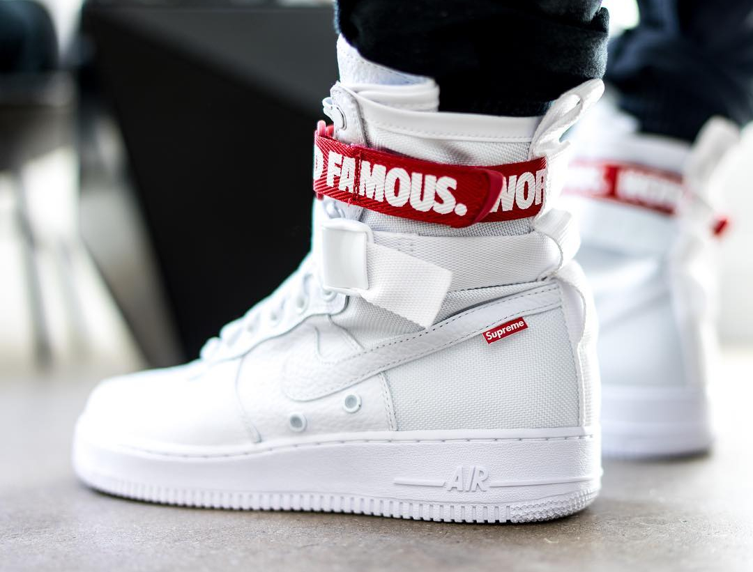 meet c0203 3f6a8 Nike Air Force 1 SF AF1 White 'Supreme World Famous'
