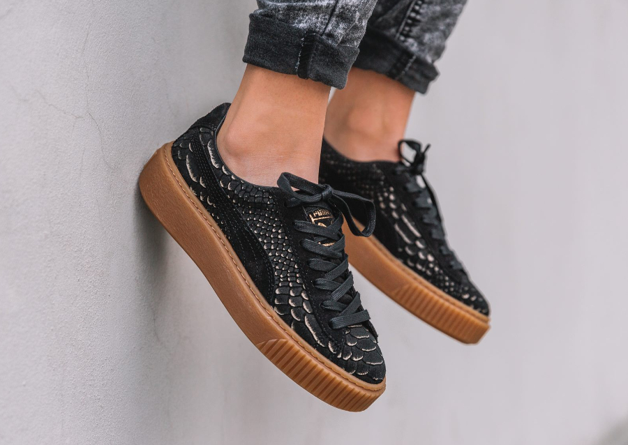 Chaussure Puma Basket Platform Exotic Skin Python W Black Gold (femme)