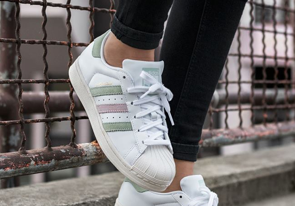 Chaussure Adidas Superstar 80's W Linen Green Ice Purple (femme)