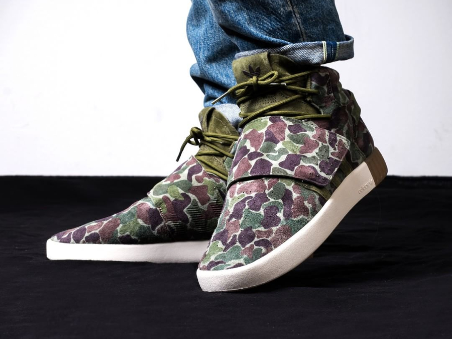 Chaussure Adidas Tubular Invader Strap Duck Camo Olive (3)
