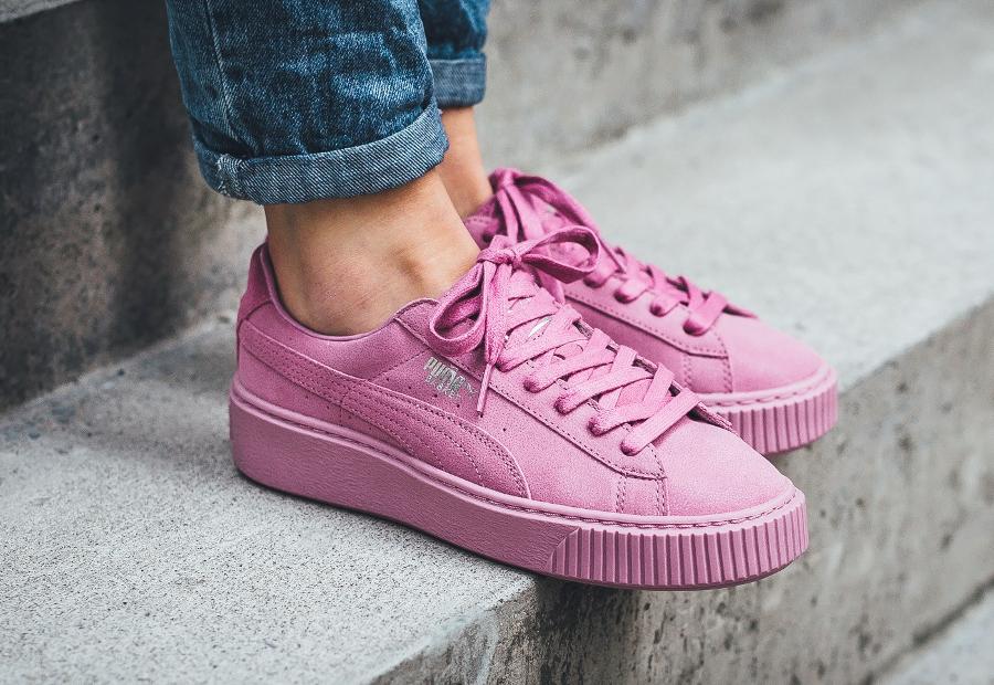 Chaussure Puma Basket Platforme Reset Suede Rose Prism Pink