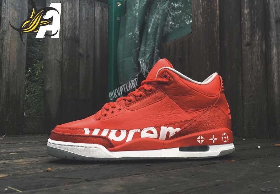 Supreme x Louis Vuitton x Air Jordan 3 Red October - @kvptlart