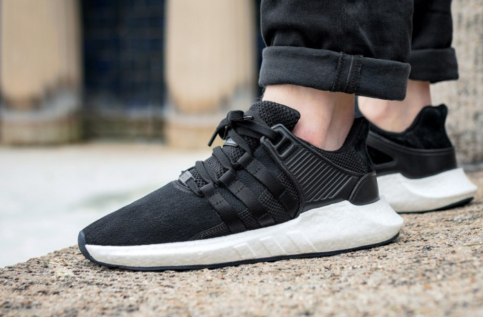 wholesale dealer 4a995 f84fe Chaussure Adidas EQT Support 93 17 Boost Noire Milled Leather Pack homme