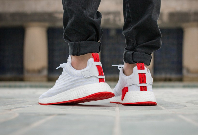 Adidas NMD R2 PK Primeknit 'Two Toned' White Black Red