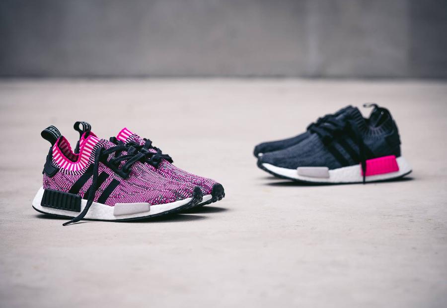 Chaussure Adidas NMD_R1 Primeknit Rose Shock Pink (femme) (1)
