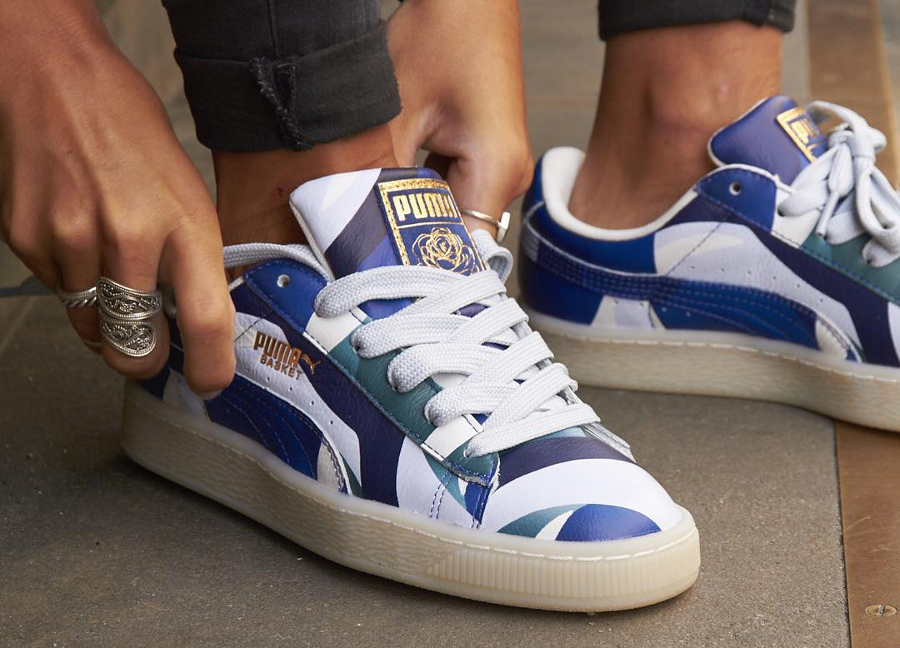 Chaussure Careaux x Puma Basket Graphic Twilight Blue (femme) (1)