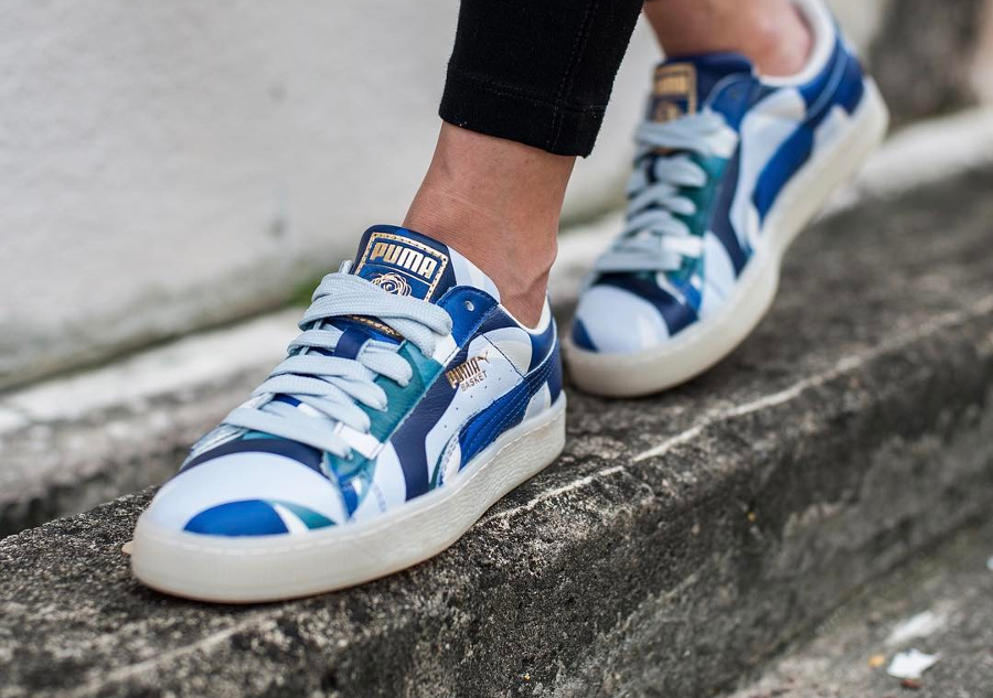 Chaussure Careaux x Puma Basket Graphic Twilight Blue (femme) (2)