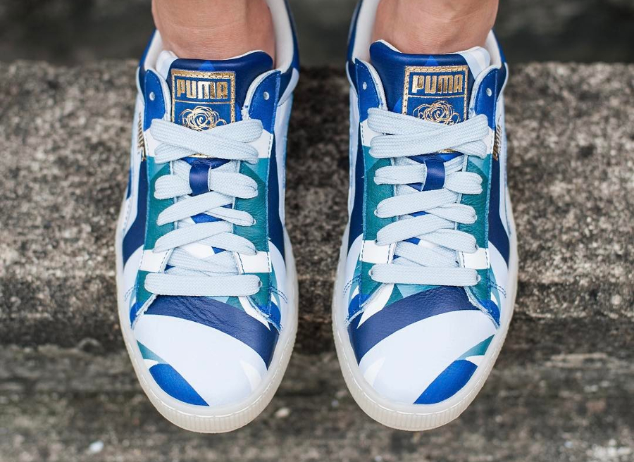 Chaussure Careaux x Puma Basket Graphic Twilight Blue (femme) (3)