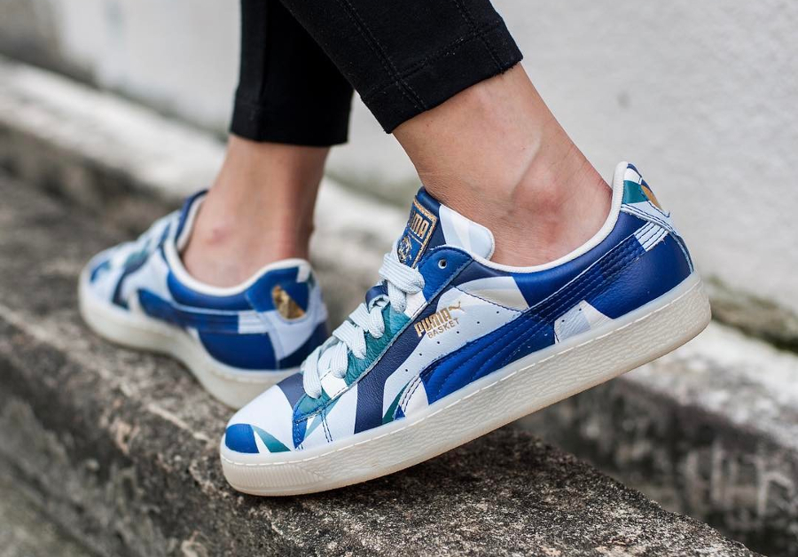 Chaussure Careaux x Puma Basket Graphic Twilight Blue (femme) (4)
