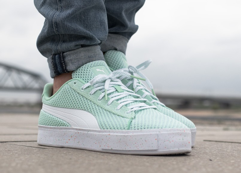 Chaussure Daily Paper x Puma Basket Knit Splat Gossamer Green (vert menthe) (1)