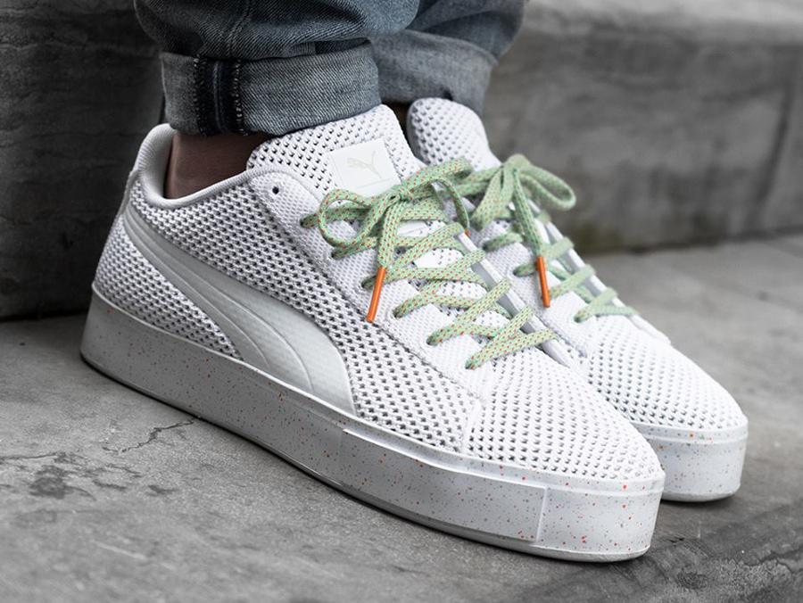 Chaussure Daily Paper x Puma Basket Platform Knitsplat White (blanche) (2)