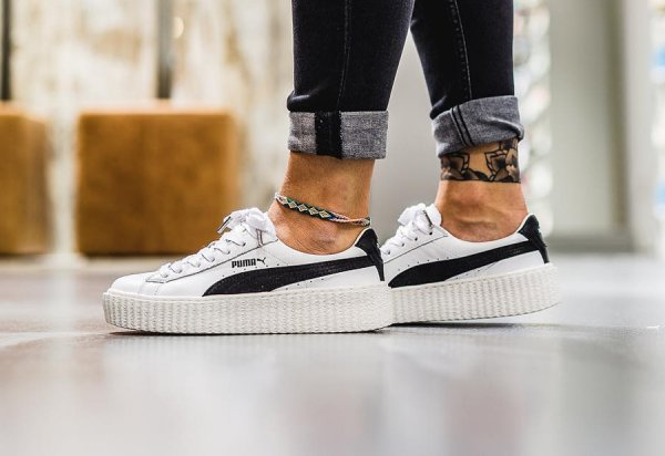 Chaussure Fenty Rihanna x Puma Suede Creeper Wrinkled Leather blanche (1)